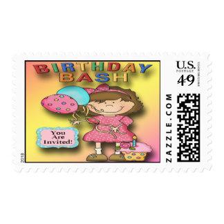 Birthday Bash Girl Party Invitation Postage