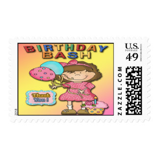 Birthday Bash Girl Party Thank You Postage