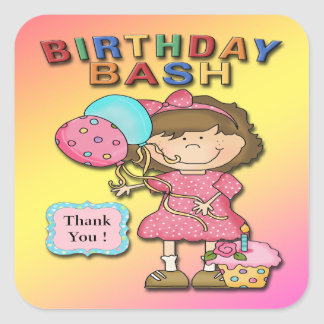 Birthday Bash Girl Thank You envelope seal Stickers