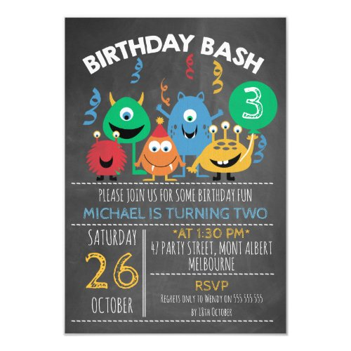 Birthday Bash Monster Birthday Invitation