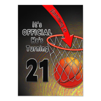 BIRTHDAY - BASKETBALL - 21st INVITATION