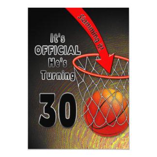 BIRTHDAY - BASKETBALL -30th INVITATION