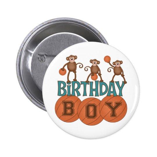 Birthday Basketball Boy Button