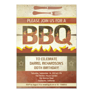 Birthday bbq vintage design invitations