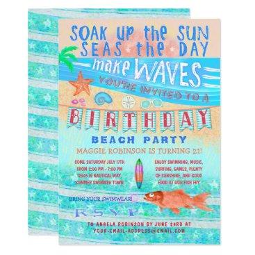 Beach Themed Birthday Beach or Pool Party Summer Fish Surf Swim Card