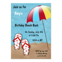 Birthday Beach Party Invitations