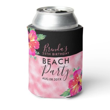 Beach Themed Birthday Beach Party-Pink Glitter & Flowers Can Cooler