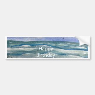 Birthday Beach Watercolor Bumper Sticker