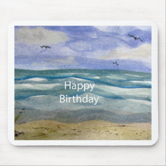 Birthday Beach Watercolor Mouse Pad