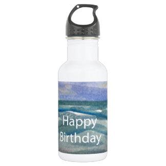 Birthday Beach Watercolor Water Bottle