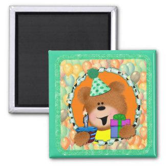 Birthday Bear 2 Inch Square Magnet
