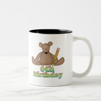 Birthday Bear 6th Birthday Gifts Two-Tone Coffee Mug