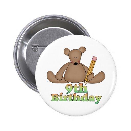 Birthday Bear 9th Birthday Gifts Pin