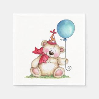 Birthday Bear Ballooon Paper Napkin