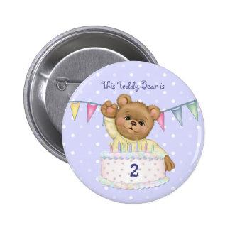 Birthday Bear Boy - Third - Customize Date Pinback Button