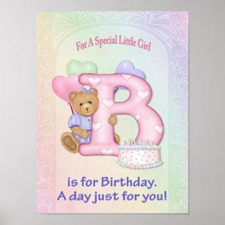 Birthday Bear Girl Poster