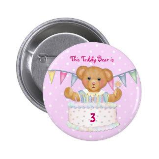 Birthday Bear Girl - Third - Customize Date Pinback Button