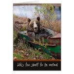Birthday Bear in boat Card
