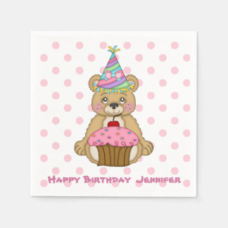 Birthday Bear Pink Cupcake Personalized Paper Napkin
