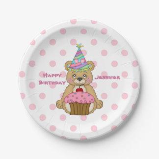 Birthday Bear Pink Cupcake Polkadot Personalized 7 Inch Paper Plate