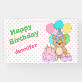 Birthday Bear Pink Polkadot Party Banner