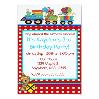 Birthday bear train invitation