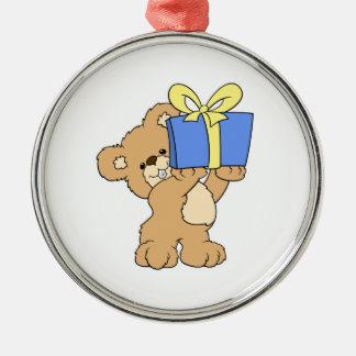 Birthday Bear with Present Round Metal Christmas Ornament