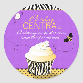 Birthday Bee Business Sticker Purple