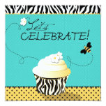 Birthday Bee & Cupcake Birthday 5.25x5.25 Square Paper Invitation Card