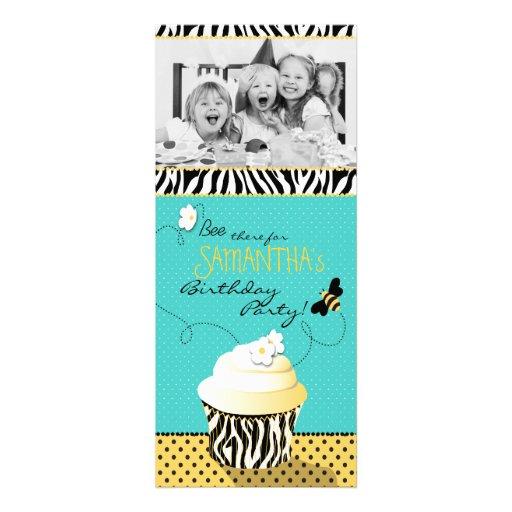 Birthday Bee & Cupcake Photo Template Personalized Invite | Zazzle