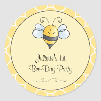 Birthday Bee-Day Favor Sticker Bumble Bee