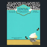 """Birthday Bee Letterhead<br><div class=""""desc"""">Fun bumble bee design with zebra print and turquoise and yellow/black polka dot accent.</div>"""