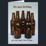 """Birthday Beer Humor Getting Older Card<br><div class=""""desc"""">This humorous card featuring a photo of beer bottles with silly illustrated faces would be sure to make any &quot;beer lover&quot; smile. Photo and illustration by designer.</div>"""