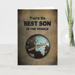 """BIRTHDAY- BEST SON IN THE WORLD CARD<br><div class=""""desc"""">WHAT BETTER WAY TO IMPRESS YOUR SON THAN LETTING HIM KNOW HE IS THE BEST IN THE WHOLE WORLD. SAME IMAGE WILL BE AVAILABLE FOR BIRTHDAYS  ... .BROTHERS,  UNCLES,  SONS,  HUSBANDS,  POP POP ETC.</div>"""