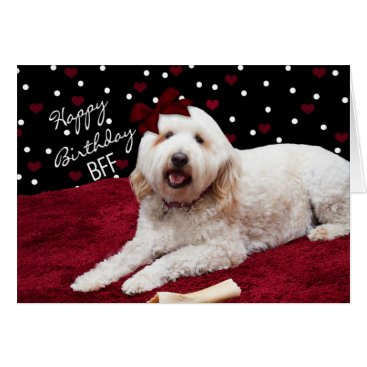 TrudyWilkerson BIRTHDAY BFF - GOLDEN DOODLE DOG CARD
