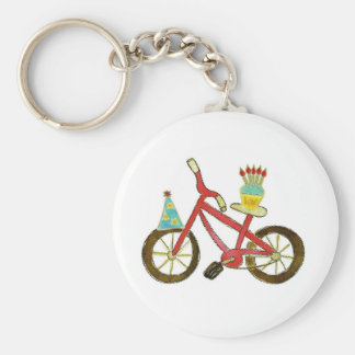 Birthday Bike with Cupcake Basic Round Button Keychain