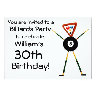 Birthday Billiards Party Invitation