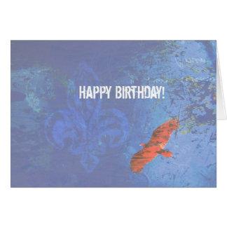 Birthday Bird Soaring Blue Grunge Card