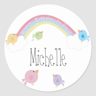 Birthday Birds Personalized Name Cupcake Topper Classic Round Sticker