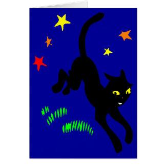 Birthday Black Cat and Magic Stars Greeting Card