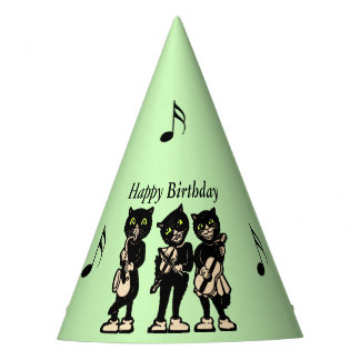 Birthday Black Cat Music Band Black Music Notes Party Hat