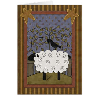 Birthday Black-faced Sheep & Raven Card