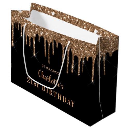 Birthday black gold glitter drips monogram luxury large gift bag