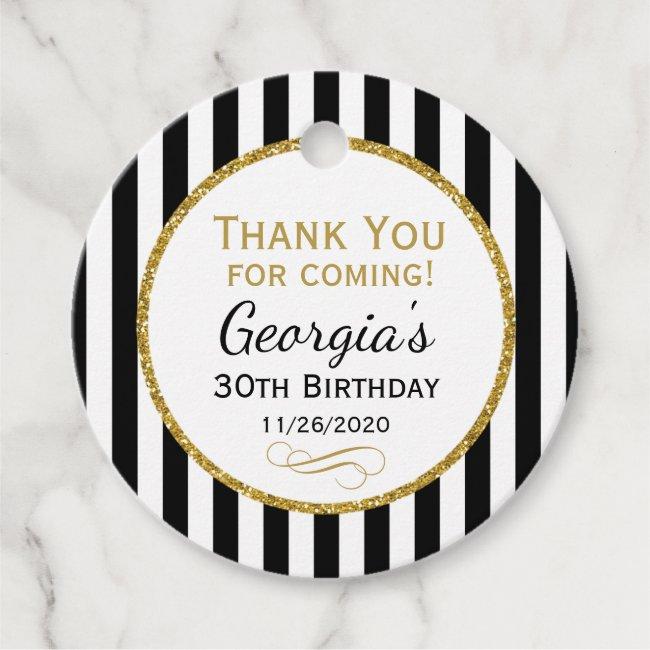 Birthday Black Gold Stripe Thank You Favor Tags