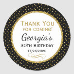 "Birthday Black Gold Thank You Favor Tags<br><div class=""desc"">Elegant birthday stickers featuring black and gold glitter polka dots and sophisticated gold glitter accent frame. These fashionable and stylish birthday stickers will be a hit for any birthday party decor and as favor tags. Great for 21st 30th 35th 40th 45th 50th 60th 65th 70th 75th 80th 85th 90th 95th,...</div>"