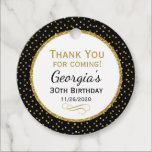 """Birthday Black Gold Thank You Favor Tags<br><div class=""""desc"""">Elegant birthday tags featuring black and gold glitter polka dots and sophisticated gold glitter accent frame. These fashionable and stylish birthday tags will be a hit for any birthday party decor. Great for 21st 30th 35th 40th 45th 50th 60th 65th 70th 75th 80th 85th 90th 95th, 100 and any age!...</div>"""