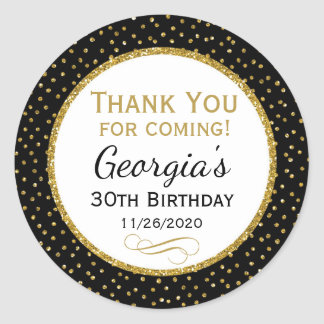 Birthday Black Gold Thank You Favor Tags Classic Round Sticker