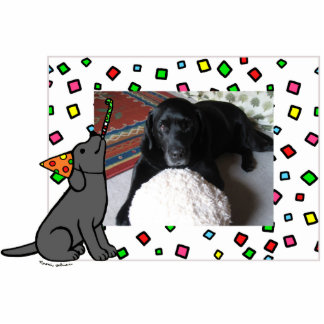 Birthday Black Labrador Cartoon Photo Frame Statuette