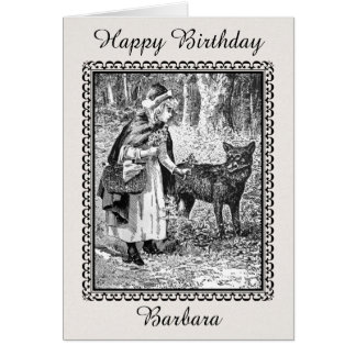 Birthday Black white Drawing Riding Hood With Wolf Card
