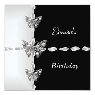 Birthday Black White Silver Pearl Butterfly Party 5.25x5.25 Square Paper Invitation Card